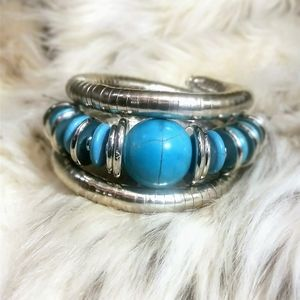 Silver Alloy Snake Bangle with Turquoise